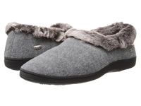 Acorn Faux Chinchilla Collar Stone Women's Slippers White