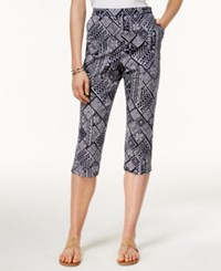 Alfred Dunner Geometric Print Cropped Pants Navy White