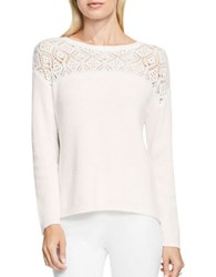 Vince Camuto Pointelle Long Sleeve Lace Yoke Crewneck Sweater Antique White
