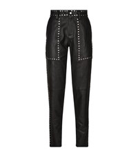 Set Leather Stud Trousers Female Black