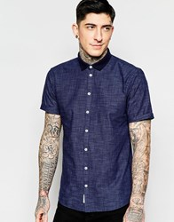 Minimum Shirt With Knit Collar Short Sleeves Navy
