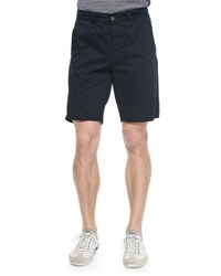 Rag And Bone Flat Front Cotton Shorts Navy