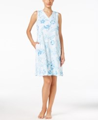 Miss Elaine Sleeveless Floral Print Sleeveless Nightgown Blue Patchwork Floral