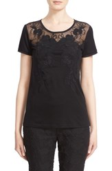 St. John Women's Collection Embroidered Illusion Yoke Jersey Tee Caviar