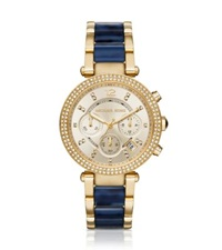 Michael Kors Parker Pave Gold Tone And Navy Acetate Watch