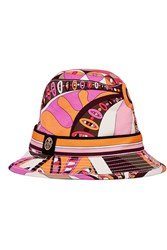 Emilio Pucci Printed Cotton Blend Hat Orange