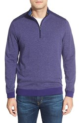 Men's Bugatchi Quarter Zip Mock Neck Knit Pullover Grape