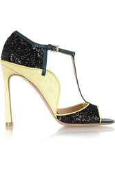 Mary Katrantzou Gianvito Rossi Margot Glittered Leather Sandals