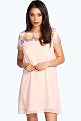 Boohoo Sequin Panel Chiffon Swing Dress Nude