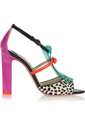 Sophia Webster Verity Patent Leather Polka Dot Calf Hair And Vinyl Sandals