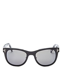 Tom Ford Jack Polarized Square Sunglasses 50Mm Shiny Black Smoke Lens Polarized