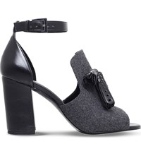 Nine West Bevy2 Leather And Textile Peep Toe Sandals Blk Grey