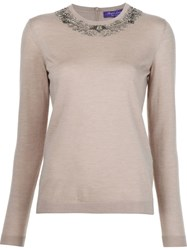 Ralph Lauren Black Label Embellished Crew Neck Sweater Nude And Neutrals