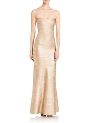 Herve Leger Strapless Bandage Gown Light Gold