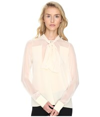 Prabal Gurung Long Sleeve Tie Neck Blouse Ivory