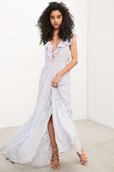 The Jetset Diaries Wanderlust Ruffle Plunge Maxi Dress Lavender