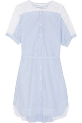 N 21 Aria Lace Trimmed Cotton Shirt Dress Blue