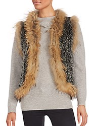 Saks Fifth Avenue Fur Sleeveless Vest Black