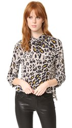 Equipment Cropped 3 4 Sleeve Signature Blouse Fawn