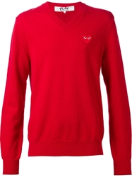 Comme Des Garcons Classic V Neck Sweater Red