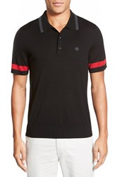 Ag Jeans Men's Ag 'Sunset' Trim Fit Stripe Tipped Merino Wool Polo Caviar