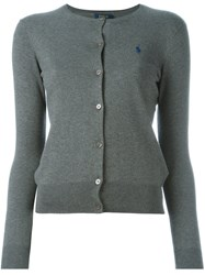 Polo Ralph Lauren Logo Embroidered Cardigan Grey