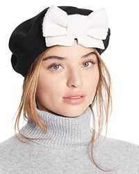 Helene Berman Beret With Bow Black Natural