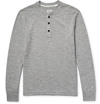 Rag And Bone Melange Cotton Blend Jersey Henley T Shirt Gray