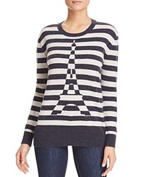 Bloomingdale's C By Eiffel Tower Stripe Cashmere Sweater Calvary Hemp