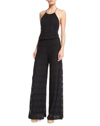 Miguelina Delphine Embroidered Lace Jumpsuit Coverup Women's Black