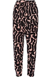 Issa Ivy Printed Satin Jersey Tapered Pants Pink