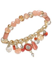 Inc International Concepts Gold Tone Pink Beaded Charm Stretch Bracelet Only At Macy's