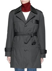 Toga Archives Glossy Checkerboard Back Trench Coat Grey