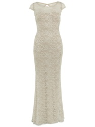 Gina Bacconi Corded Lace Maxi Dress Beige