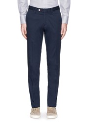 Isaia Contrast Stitch Washed Slim Fit Chinos Blue