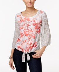Jm Collection Tie Front Floral Print Top Only At Macy's Orange Peony