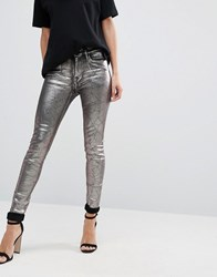Replay Metallic Super Skinny High Rise Jeans Silver