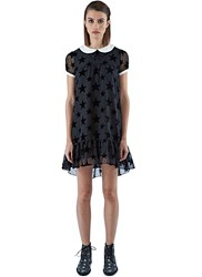 Saint Laurent Star Applique Babydoll Dress Black