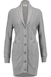 L'agence Emelia Textured Knit Cotton Blend Cardigan Gray