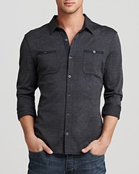 John Varvatos Usa Button Front Knit Button Down Shirt Slim Fit Charcoal Heather Grey
