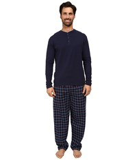 Jockey Flannel Sleep Pants With Solid Long Sleeve Jersey Henley Top Boxed Set Navy Men's Pajama Sets