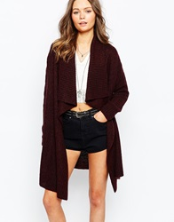 New Look Waterfall Cardigan Berry