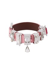 Alexander Mcqueen Multi Charm Skull Bracelet Pink And Purple