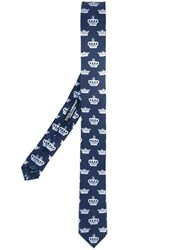 Dolce And Gabbana Crown Print Tie Blue