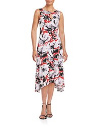 Taylor Floral Asymmetric Midi Dress Red Blush