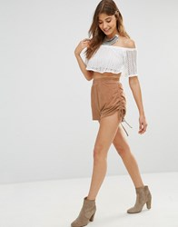 Oh My Love Ruched Side Shorts Tan