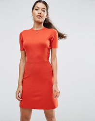 Asos A Line Ponte Skater Dress Rust Red