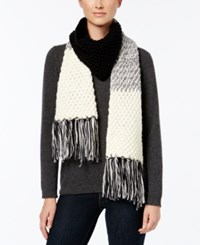 Rampage Colorblock Fringe Scarf Only At Macy's Black Ivory