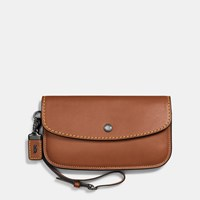 Coach 1941 Clutch In Glovetanned Leather Black Brown