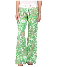 Lilly Pulitzer Beach Pant Resort White Seeing Pink Elephants Women's Casual Pants Green